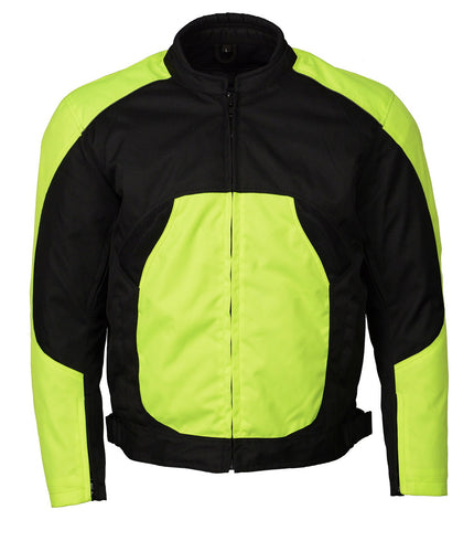 M Boss Motorcycle Apparel BOS11701 High Vis Men's Nylon Racer Jacket with Mesh Panel