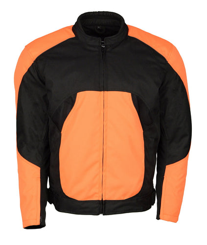 M Boss Motorcycle Apparel BOS11701 Black and Neon Orange Men's Nylon Racer Jacket with Mesh Panel