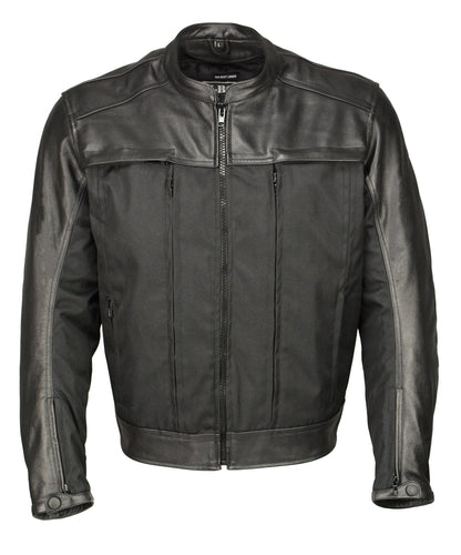 M Boss Motorcycle Apparel BOS11702 Mens Black Armored Utility Pocket Leather and Textile Moto Jacket