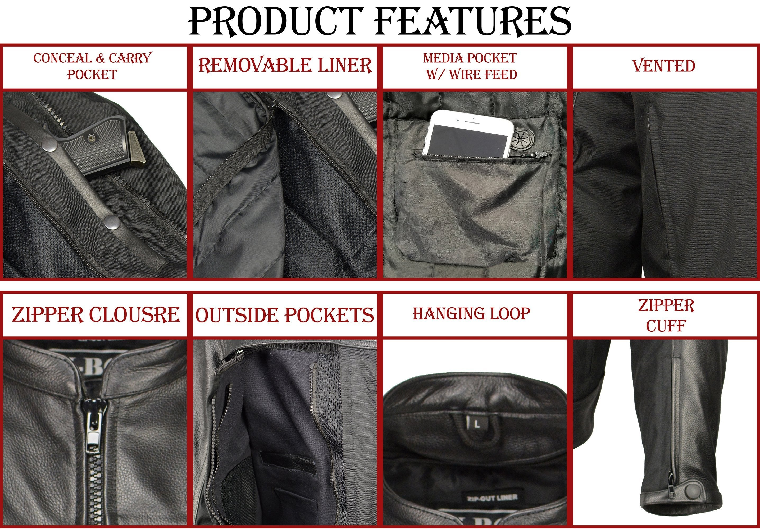 M Boss Motorcycle Apparel BOS11702 Mens Black Armored Utility Pocket