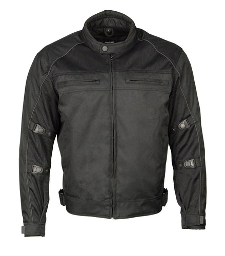 M Boss Motorcycle Apparel BOS11703 Black Men's Black Nylon and Mesh Racer Jacket with Reflective Piping