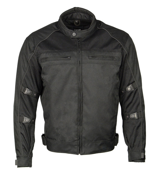 M Boss Motorcycle Apparel BOS11703 Black Mens Black Nylon and Mesh Racer Jacket with Reflective Piping
