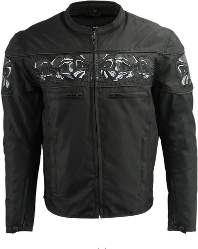 M Boss Motorcycle Apparel BOS11704 Men's Black Textile Jacket with Reflective Skulls