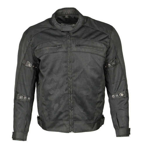 M Boss Motorcycle Apparel BOS11705 Men's Black Mesh and Nylon Racer Jacket with Armor