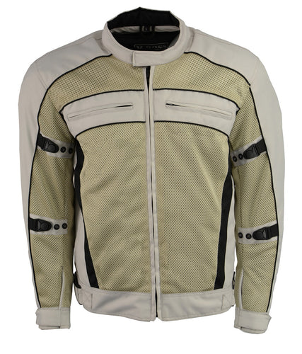 M Boss Motorcycle Apparel BOS11705 Men's Silver Mesh and Nylon Racer Jacket with Armor