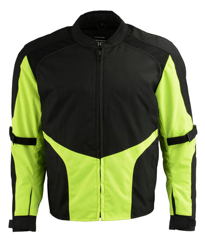M Boss Motorcycle Apparel BOS11706 Men's Hi Vis Racer Nylon Motorcycle Jacket with Armor