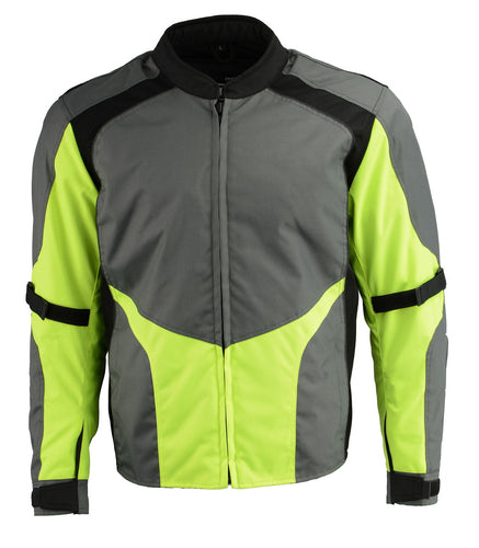 M Boss Motorcycle Apparel BOS11706  Mens Grey Hi Vis Racer Nylon Motorcycle Jacket with Armor