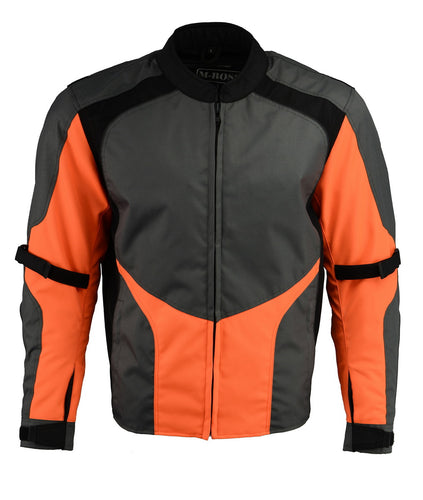 M Boss Motorcycle Apparel BOS11706 Men's Hi Vis Grey and Orange Racer Nylon Jacket