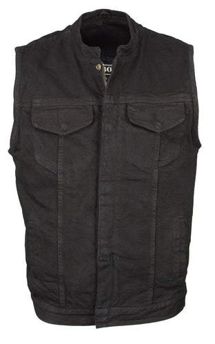 M Boss Motorcycle Apparel BOS13000 Men's Black Denim Club Style Vest with Hidden Zipper