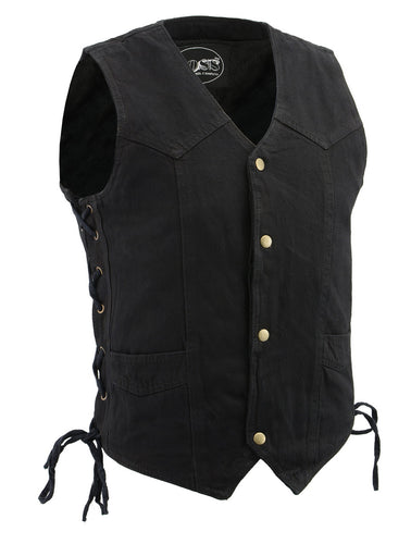 M Boss Motorcycle Apparel BOS13003 Men's Black Denim Snap Front Side Lace Vest with Quick Draw Pocket