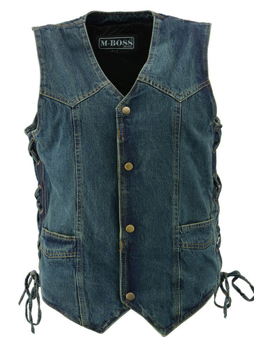 M Boss Motorcycle Apparel BOS13003 Men's Blue Denim Snap Front Side Lace Vest with Quick Draw Pocket