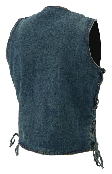 M Boss Motorcycle Apparel BOS13003 Mens Blue Denim Snap Front Side Lace Vest with Exterior Gun Pocket