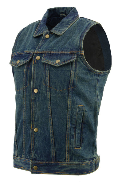 M Boss Motorcycle Apparel BOS13004 Mens Blue Denim Snap Front Vest with Shirt Collar