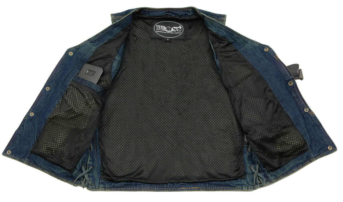 M Boss Motorcycle Apparel BOS13005 Mens Blue Side Lace Denim Vest with