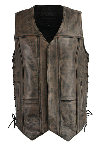 M Boss Motorcycle Apparel BOS13501 Men's Leather Distressed Black and Beige 10 Pocket Vest with Quick Draw Pocket