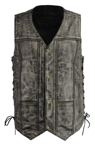 M Boss Motorcycle Apparel BOS13501 Men's Leather Distressed Grey 10 Pocket Vest with Quick Draw Pocket