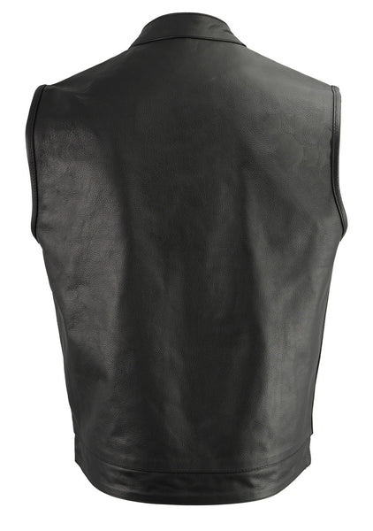 M Boss Motorcycle Apparel BOS13509 Mens Black Leather Club Style Vest with Exterior Gun Pocket
