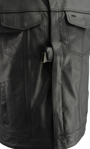 M Boss Motorcycle Apparel BOS13509 Mens Black Leather Club Style Vest