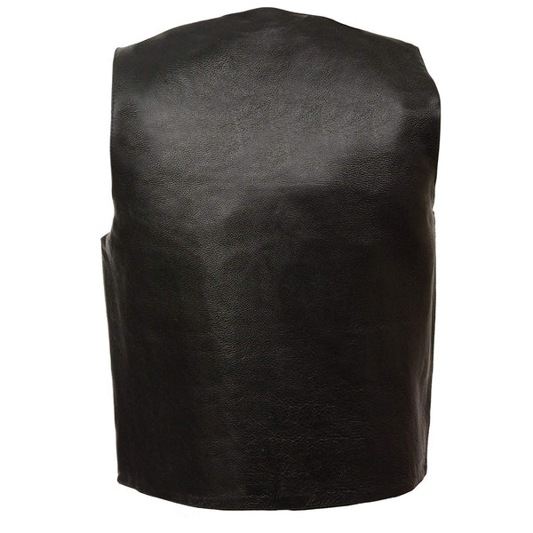 M Boss Motorcycle Apparel BOS13513 Men's Black Classic Leather Vest