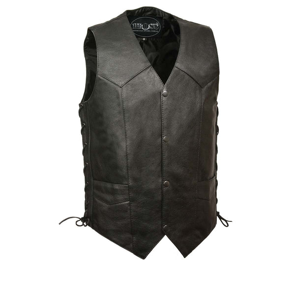 M-Boss Motorcycle Apparel BOS13515 Men's Black 'Club' Leather Vest with Gun Pocket