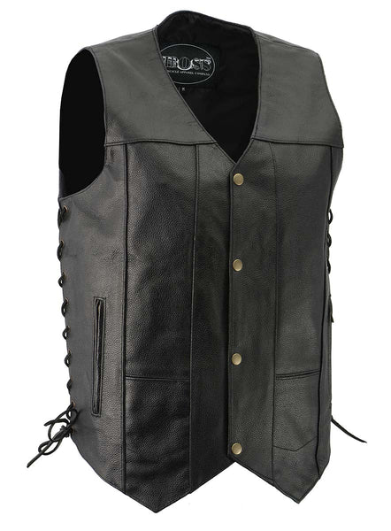 M-Boss Motorcycle Apparel BOS13517 Men's Black 'Side Laced' Classic Leather Vest