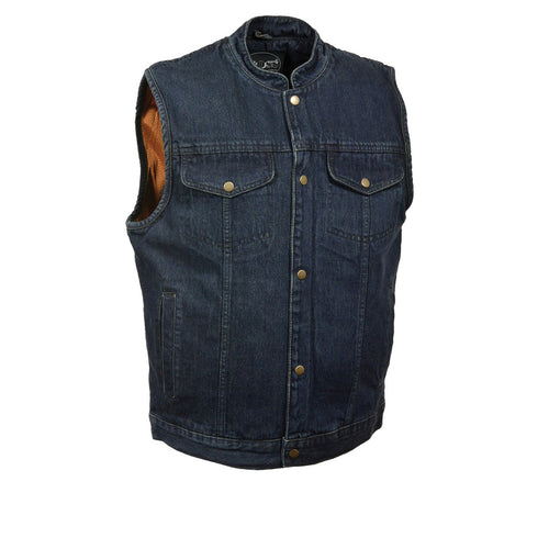 M Boss Motorcycle Apparel Apparel BOS13520 Mens Blue Snap Front Denim Club Style Vest with Gun Pocket