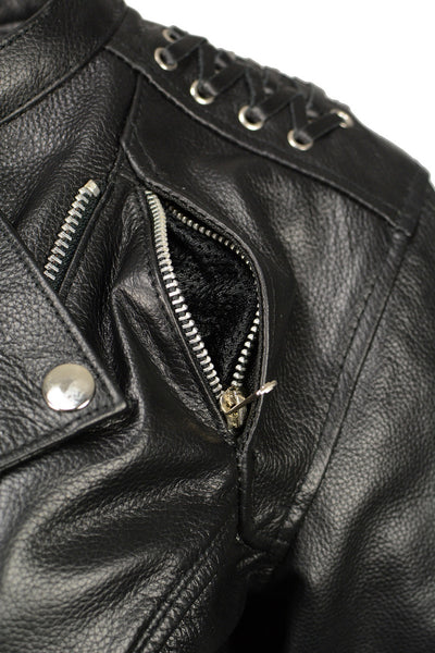 M Boss Motorcycle Apparel BOS22503 Ladies Black Armored Leather Jacket with Back Lacing Detail