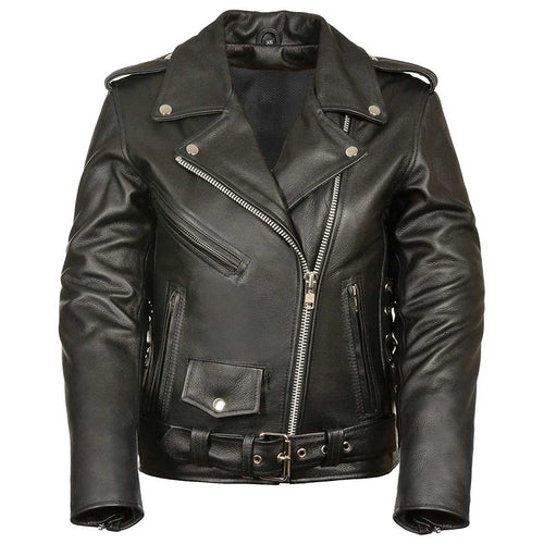 M-Boss Motorcycle Apparel BOS22506 Women's 'Conceal and Carry' Classic Biker Leather Jacket