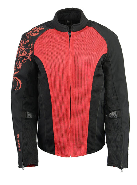 M Boss Motorcycle Apparel BOS22700 Ladies Black and Red Mesh Jacket with Flower Printing