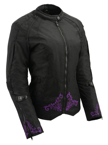M Boss Motorcycle Apparel BOS22701 Ladies Black and Purple Textile Armored Racing Jacket with Reflective Design