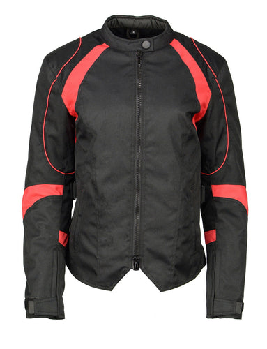 M Boss Motorcycle Apparel BOS22706 Ladies Black and Red Nylon Racer Jacket with Full Armor