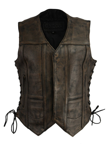 M Boss Motorcycle Apparel BOS24500 Ladies Leather Distressed Brown 6 Pocket Vest with Gun Pocket