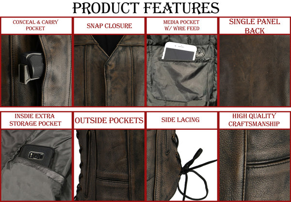 M Boss Motorcycle Apparel BOS24500 Ladies Leather Distressed Grey 6 Pocket Vest with Quick Draw Pocket