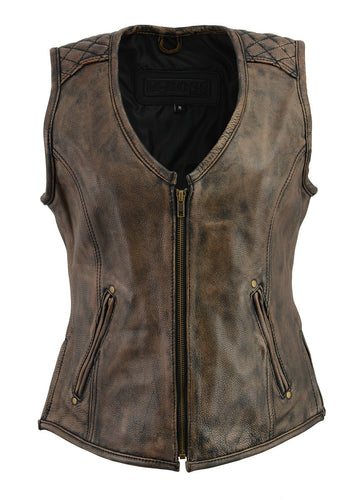 M Boss Motorcycle Apparel BOS24501 Ladies Black and Beige Leather Plain Side Zipper Front Vest