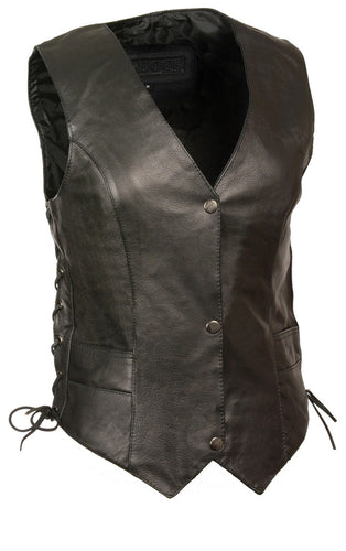 M Boss Motorcycle Apparel BOS24502 Ladies Leather Black Classic Snap Front Side Lace Vest with Gun Pocket