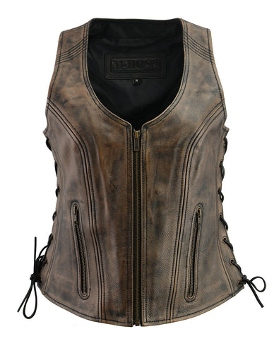 M Boss Motorcycle Apparel BOS24503 Ladies Black and Beige Leather Side Lace Zipper Front Vest