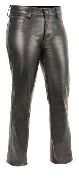 M Boss Motorcycle Apparel Pants BOS26501 Ladies Classic 5 Pocket Leather Pants Black