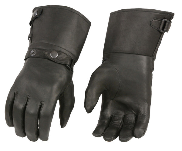 M Boss Motorcycle Apparel BOS37501 Men's Thermal Lined Leather Gauntlet Gloves with Snap Wrist and Cuff