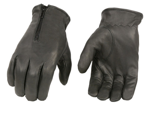 Xelement XG37532 Men's Black Thermal Lined Leather Gloves with Zipper Closure