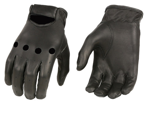 Xelement XG37534 Men's Black Unlined Leather Classic Style Driving Gloves