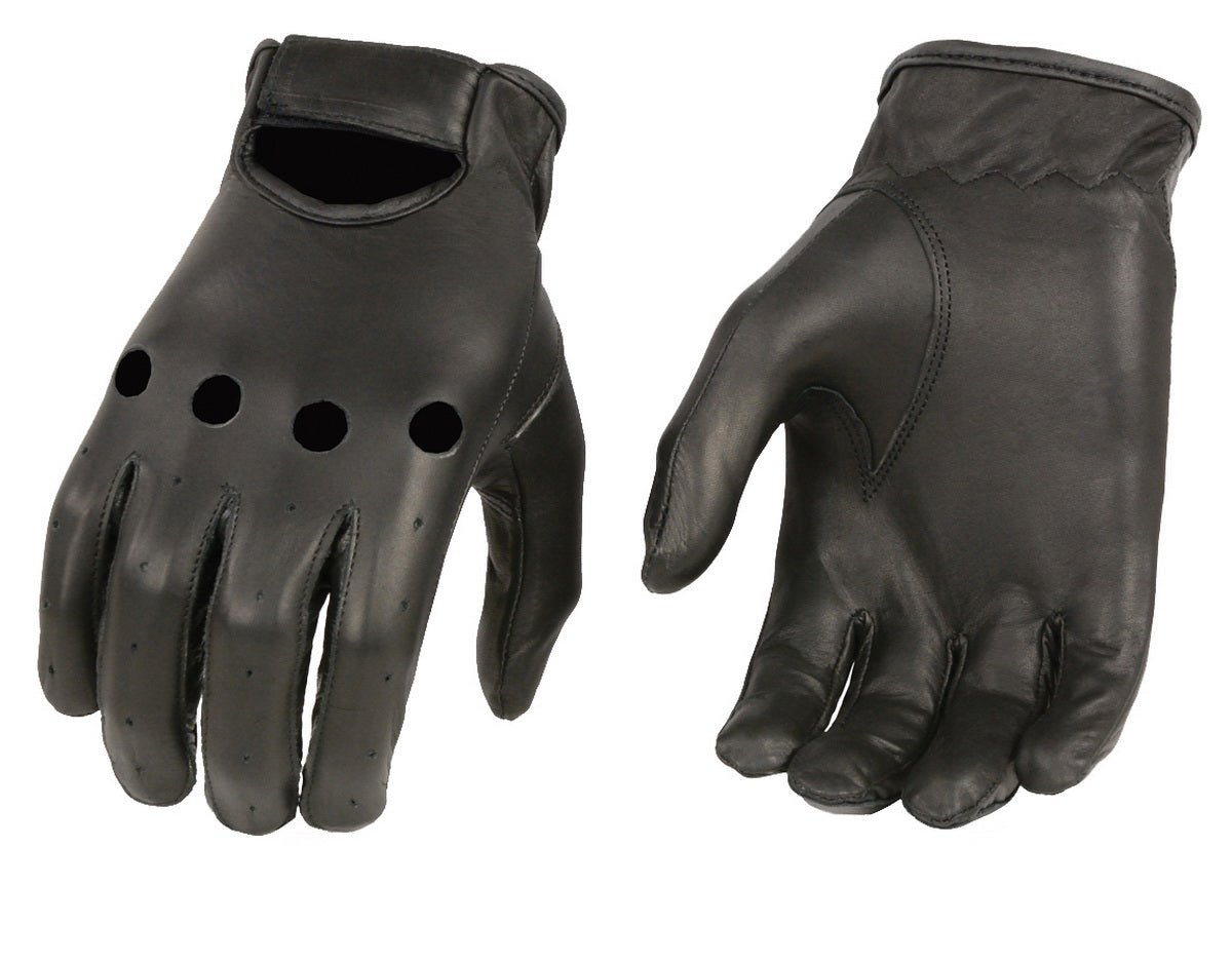 M Boss Apparel Gloves BOS37534 Mens Black Unlined Leather Classic Style Driving Gloves