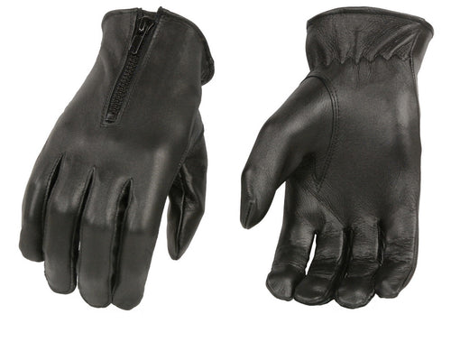 Xelement XG37536 Ladies Black Unlined Leather Gloves with Zipper Closure