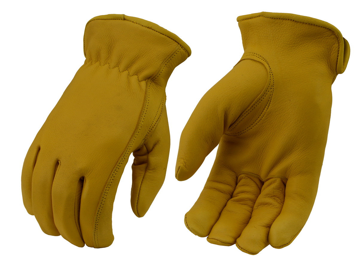 M Boss Apparel BOS37546 Mens Yellow Lined Full Grain Deerskin Leather Gloves