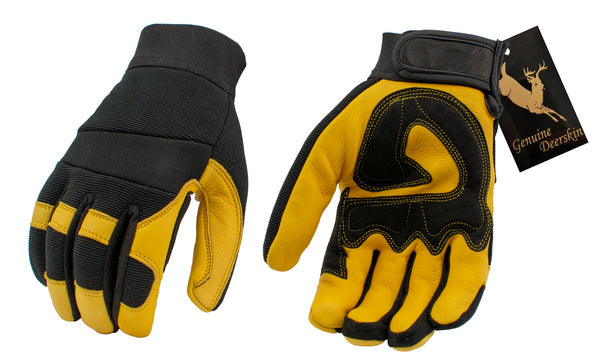 M Boss Motorcycle Apparel BOS37548 Men's Yellow and Black Full Grain Deerskin Gloves