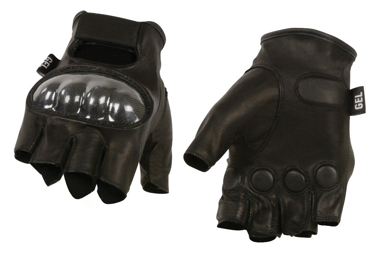 M Boss Apparel Gloves BOS37561 Mens Black Leather Finger less Glove with Hard Knuckles and Gel Palm