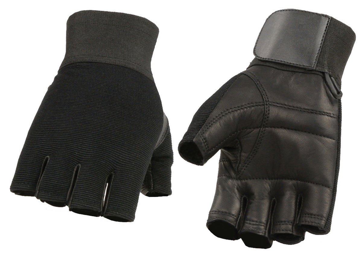 M Boss  Apparel Gloves BOS37562 Mens Leather and Spandex Fingerless Mechanics Glove With Leather Padded Palm
