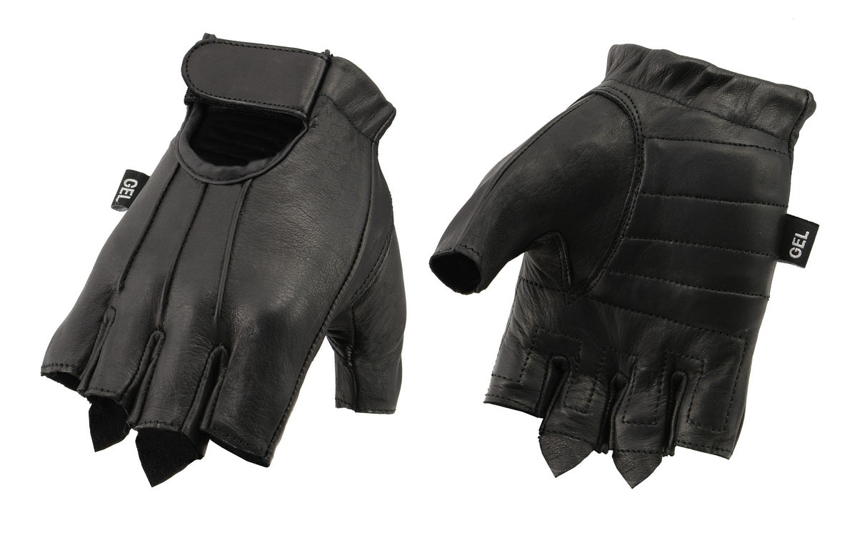 f2550f2d4 M Boss Apparel BOS37563 Mens Black Welted Leather Fingerless Glove with Gel  Padded Palm
