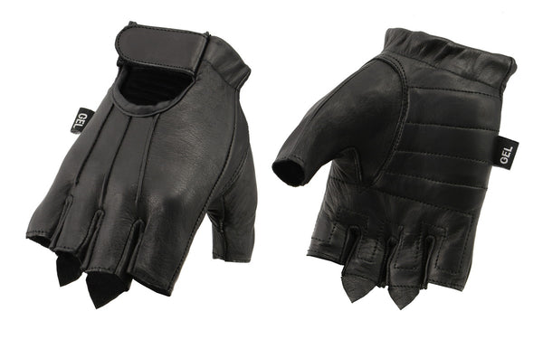 M Boss Motorcycle Apparel BOS37563 Men's Black Welted Gel Palm Leather Fingerless Gloves