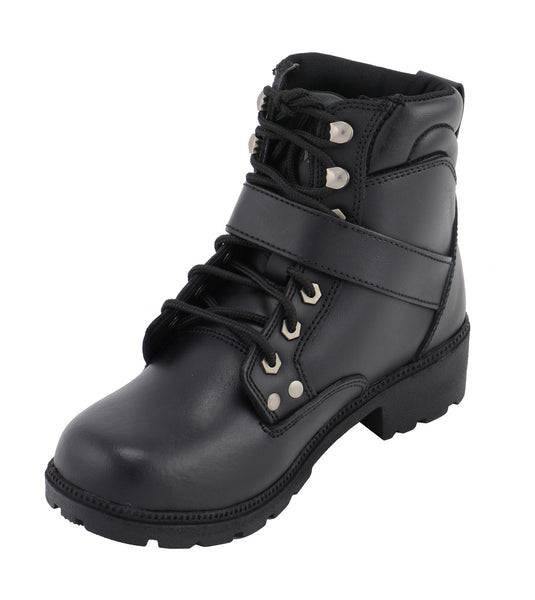 M Boss Motorcycle Apparel BOS49301 Ladies 7 Inch Black Road Captain Leather Motorcycle Boots
