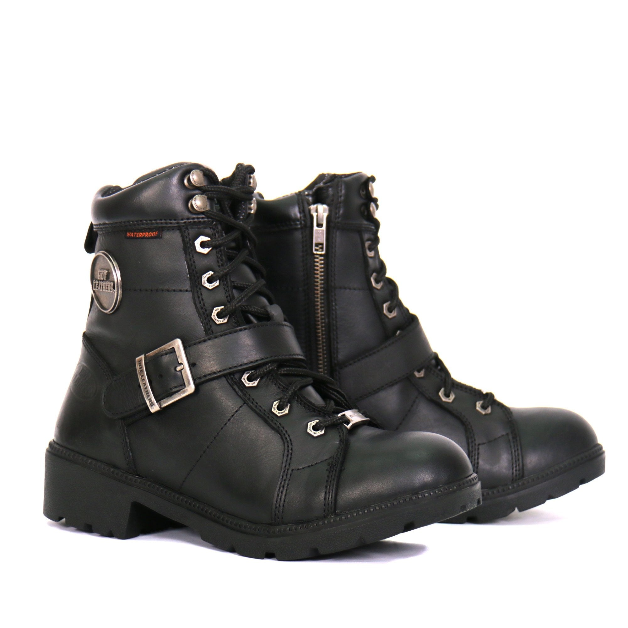 Hot Leathers BTL1004 Ladies 6-inch Black Lace-Up Leather Boots with
